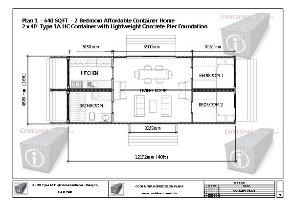 Container Homes Plan Series – Plan 1 – 2 x 40′ - Shipping ...