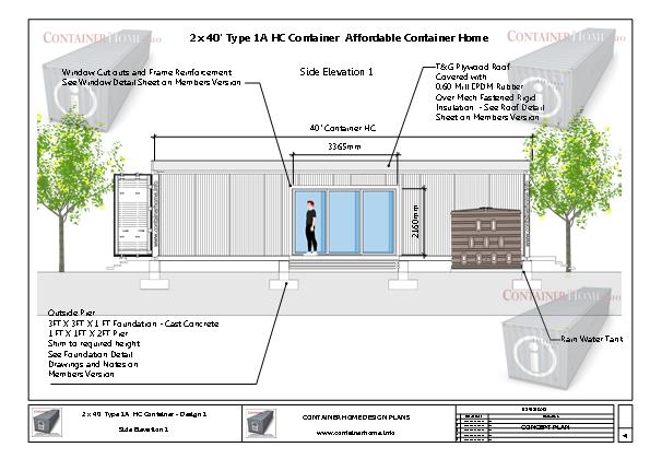 Container Homes Plan Series Plan 1 2 X 40 Shipping Container